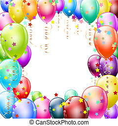 colorful balloons frame with confetti