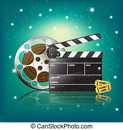 clapper,cinema tickets and film on starry background
