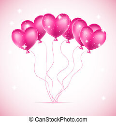 pink balloons made of hearts background