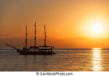 Sunset Silhouette Ship