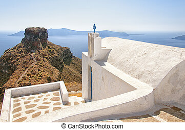 Skaros with Church - An image from Santorini of a typical...
