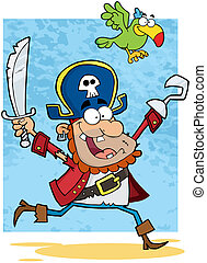 Running Pirate Holding Up A Sword