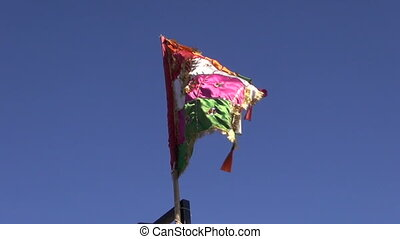 colorful flag on sky and wind in India