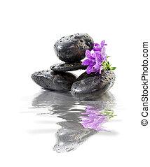 zen Stones with purple flowers