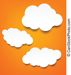 White paper clouds over orange background. - Vector abstract...