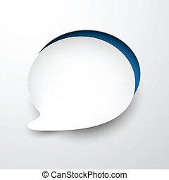 Paper white speech bubble round note. - Vector illustration...