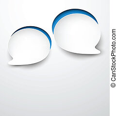 Paper white round speech bubbles. - Vector abstract...