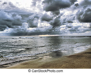 Ocean view with cloudy sky