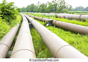 Industrial pipelines scene