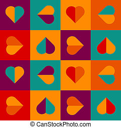 Seamless pattern with hearts in bright colors - Geometrical...