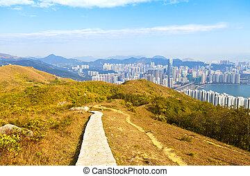 Hiking path in Hong Kong downtown
