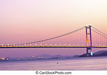 Bridge in Hong Kong at sunset