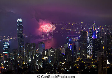 Hong Kong fireworks in Chinese New Year - HONG KONG -...