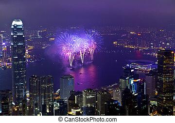 Hong Kong fireworks in Chinese New Year - HONG KONG -...