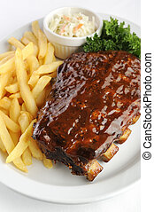 Grilled juicy barbecue pork ribs in a white plate with...