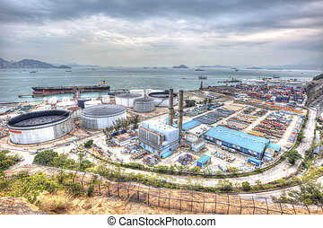 Oil tank industry scene, HDR image.