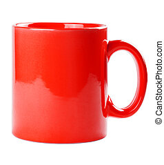 Red mug empty blank for coffee or tea isolated on white...
