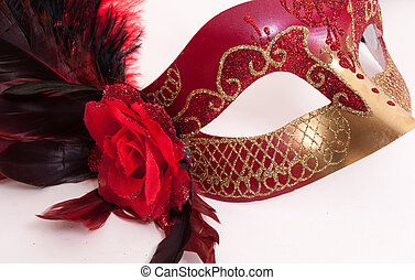 beautiful Mardi Gras mask - feathered, black, red and gold...