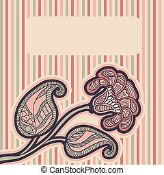 Card with floral design.