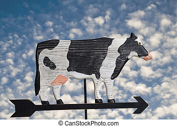 Cow Weather Vane - Wooden hand crafted cow weather vane.