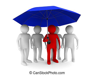 man with blue umbrella on white background. Isolated 3D...