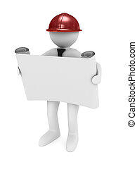 engineer in helmet on white background Isolated 3D image