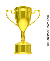 Gold cup of winner on white background. Isolated 3D  image.