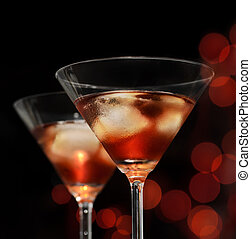 Cocktails - Red cocktail in martini glasses