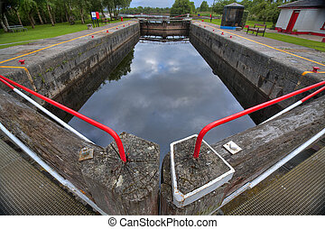 Vintage lock on Shannon river - Weathered lock on Shannon...