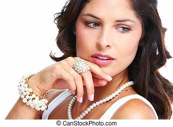 joven, hermoso, mujer, retrato