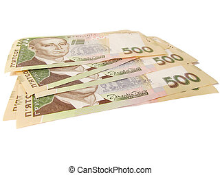 Ukrainian money on a white background 500 UAH