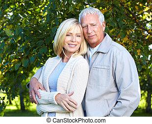 Happy senior couple. - Happy senior couple having a fun...