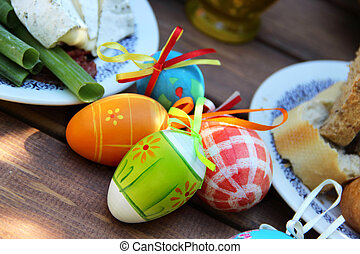 Easter colored eggs - Mix of beautiful handmade Easter...