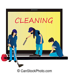 Three women cleaners and big notebo