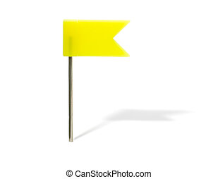Yellow flag pin with shadow