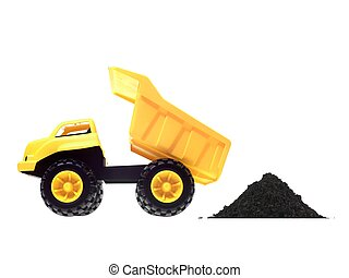 Dump Truck - A toy dump truck isolated against a white...