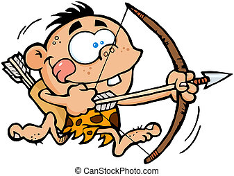 Boy Running With Bow And Arrow - Cave Boy Running With Bow...
