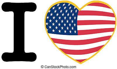 I Love America With USA Flag Heart
