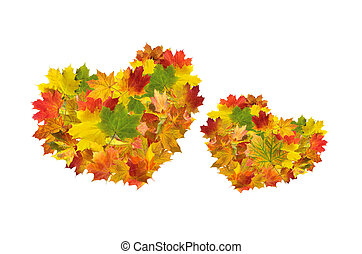 Two hearts from autumn maple leaves