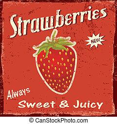 Strawberry vintage poster - Strawberry vintage grunge...
