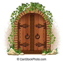 Wooden door with ivy - Arched medieval wooden door in a...