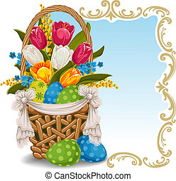 Easter greeting background with basket full of Easter eggs...