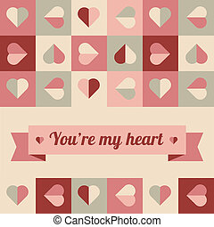 Greeting card with hearts in soft colors - Geometrical...