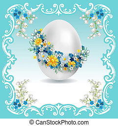Vintage Easter card with spring flowers and egg