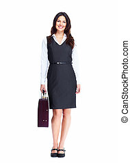 Business woman. - Beautiful young business woman isolated on...