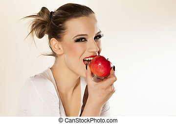 girl, and red apple - beautiful smiling girl with bright...