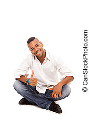 Smiling Afro American man - Isolated