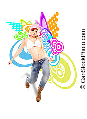 Sexy Blonde female dancer in front of illustration...