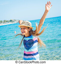 cutie girl in hat - Cute girl in hat on the beach