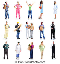 Group of workers people set Isolated on white background